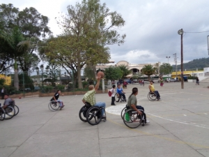 The Arthur B. Schultz's Chairman of the Board, Erik Schultz, playing a pick-up basketball game with Refugio de Esparanza employees and local basket ball team.